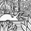 Jungle hippo coloring page
