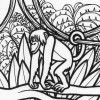 Jungle monkey coloring page