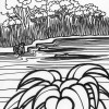 Jungle alligator coloring page