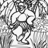 Jungle dancing bear coloring page