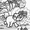 Jungle baby coloring page