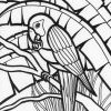 Rainforest parrot printable coloring page