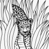 Rainforest leopard coloring page