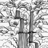 Rainforest waterfall coloring page