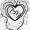 double heart coloring page