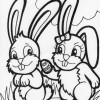 two easter bunny coloring page