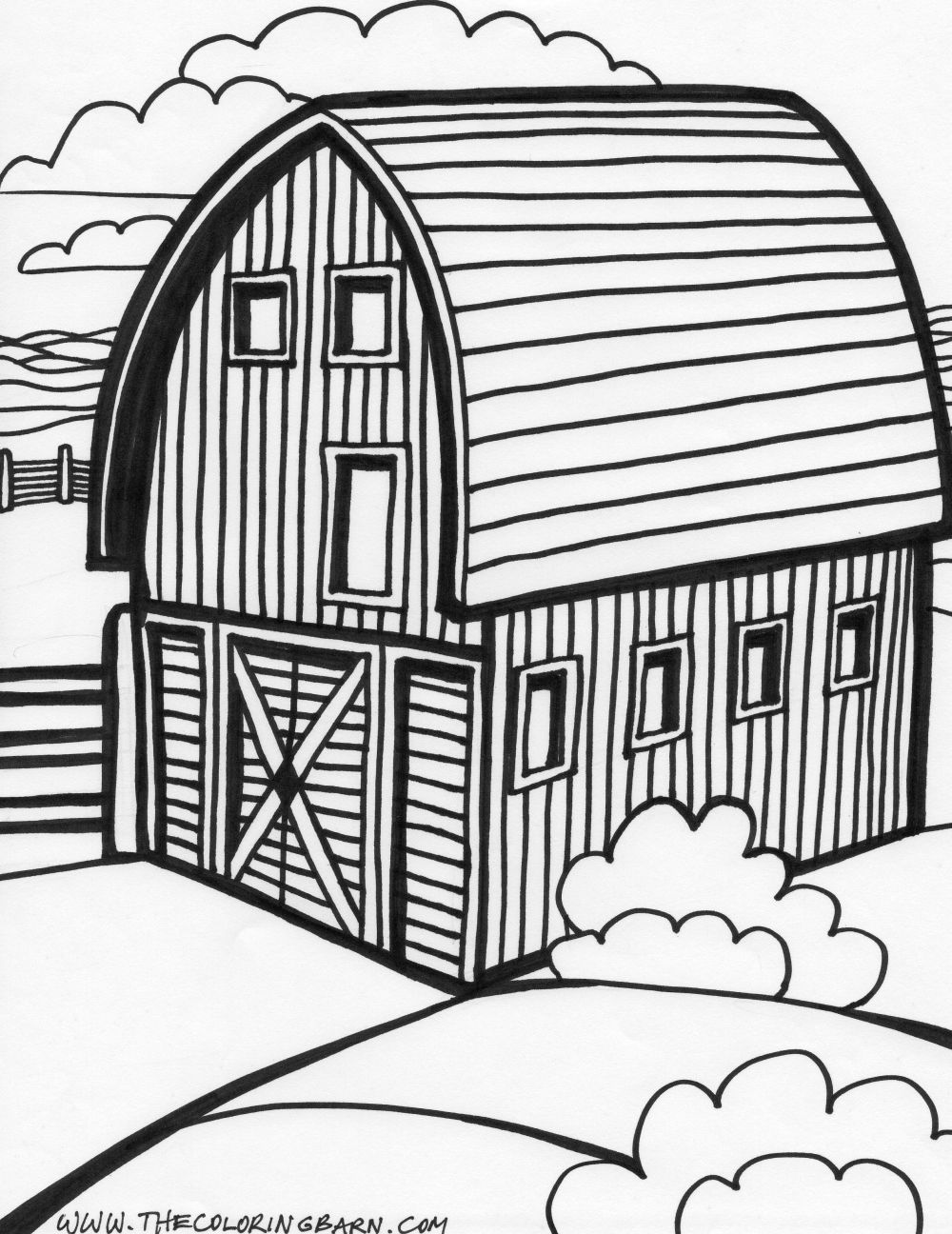 Red Barn Coloring Page http://www.pic2fly.com/Farm+Barn+Coloring+Pages.html