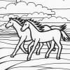 two running horses coloring page