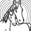 mother and baby horse coloring page